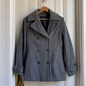 Lands' End Charcoal Heather Grey Peacoat
